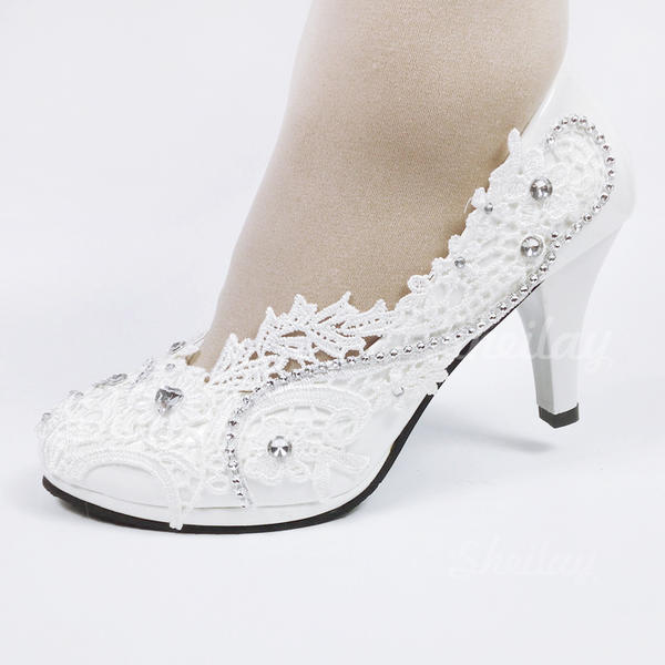 Leatherette Spool Heel Closed Toe With Applique Crystal