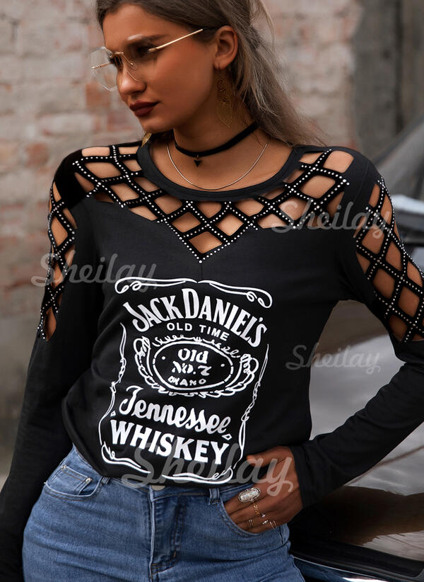 Print Sequins Figure Cold Shoulder Long Sleeves Casual Sexy Blouses