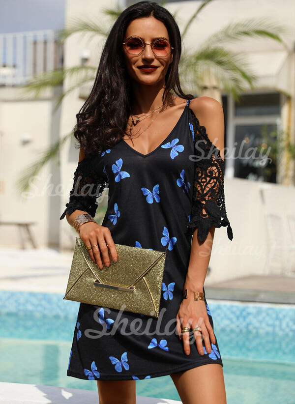 Lace/Animal Print 1/2 Sleeves/Cold Shoulder Sleeve Shift Above Knee Casual Tunic Dresses