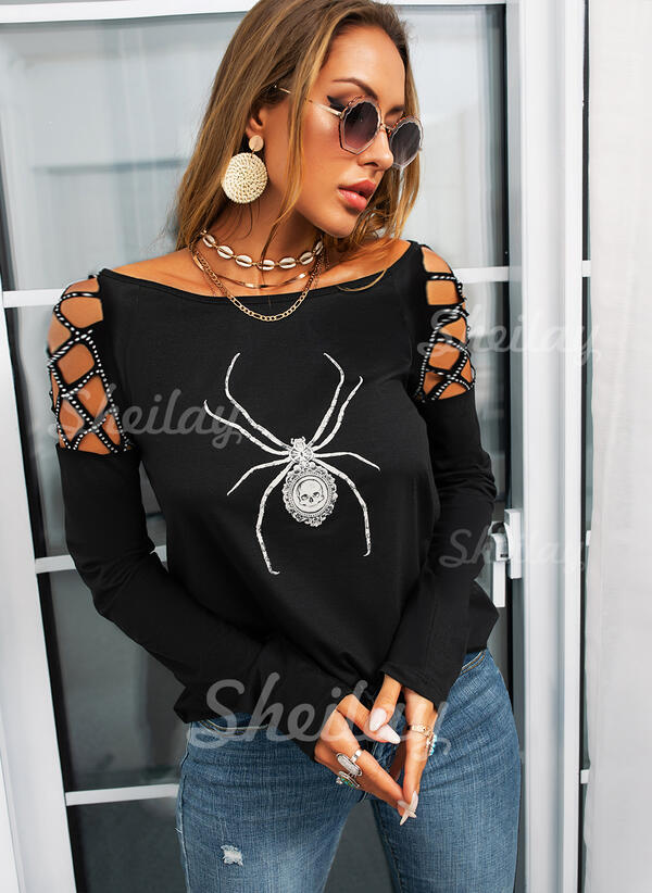 Animal Print Cold Shoulder Long Sleeves Casual Halloween Blouses