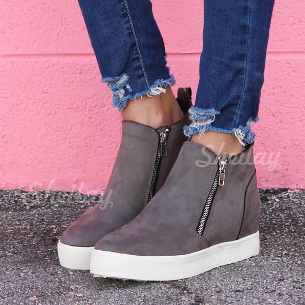 Women's Suede Flat Heel Boots Round Toe With Zipper shoes