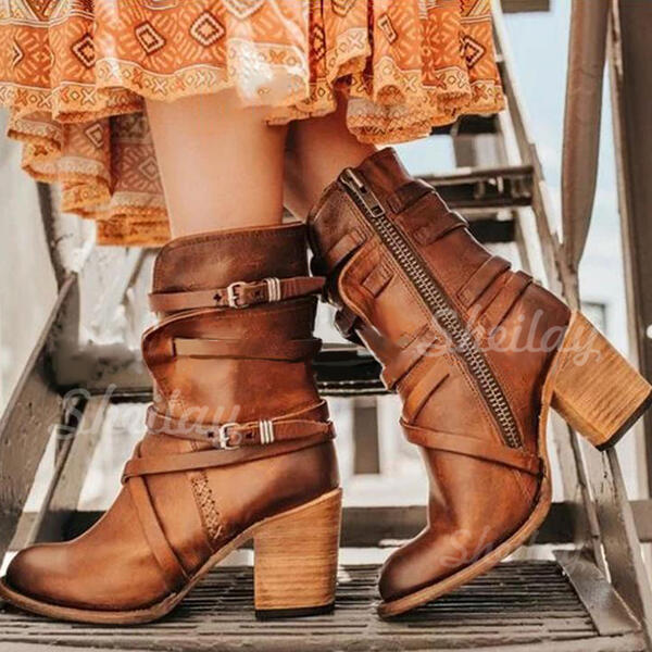 Women's PU Chunky Heel Pumps Boots With Buckle Zipper shoes