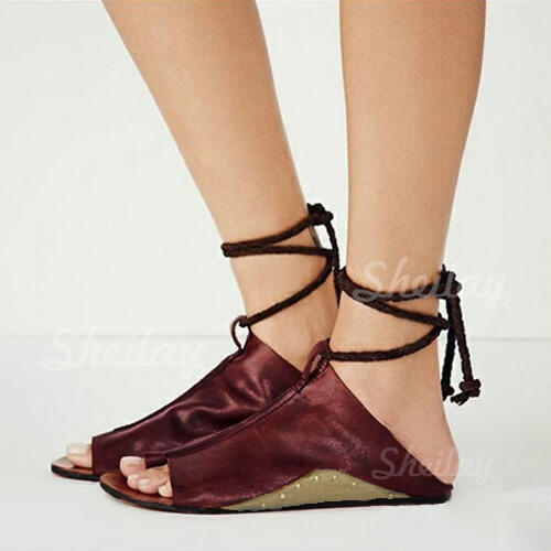 PU Flat Heel Sandals Flats With Lace-up shoes