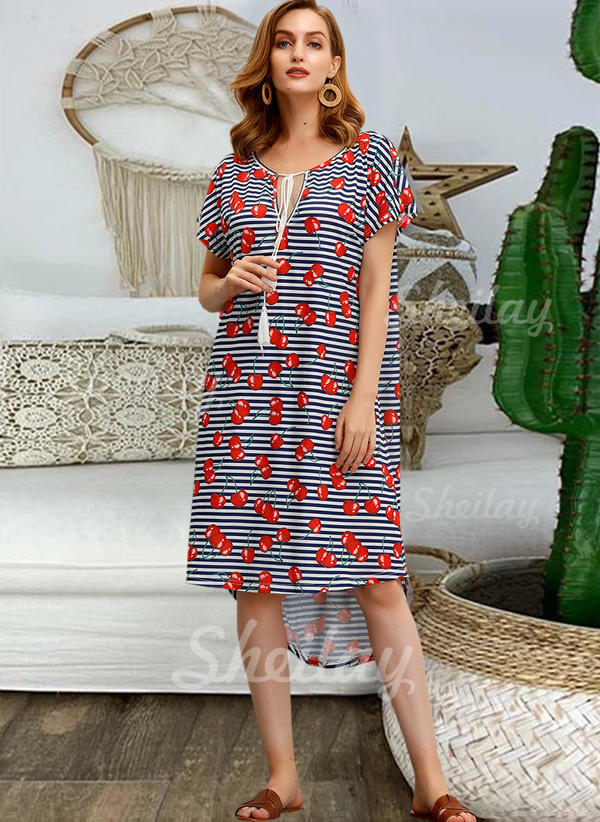 Print/Striped Short Sleeves Shift Knee Length Casual/Vacation T-shirt Dresses