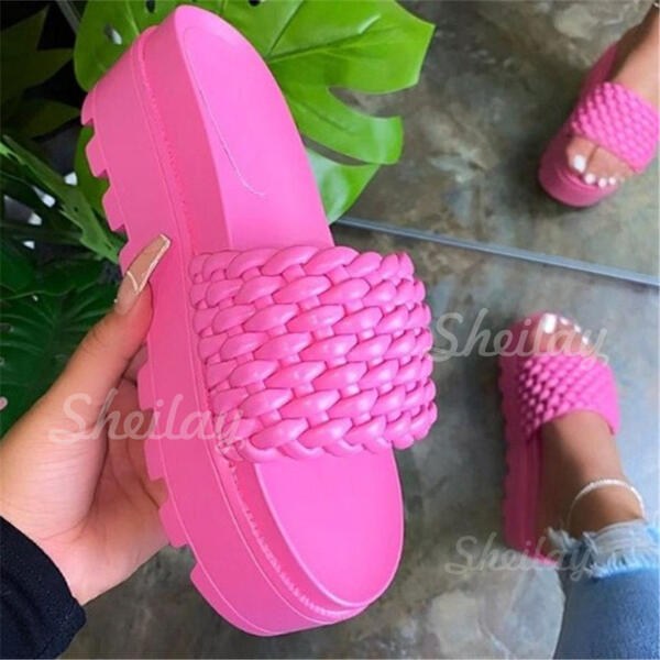Women's PU Flat Heel Flats Platform Peep Toe Slippers With Hollow-out Solid Color shoes