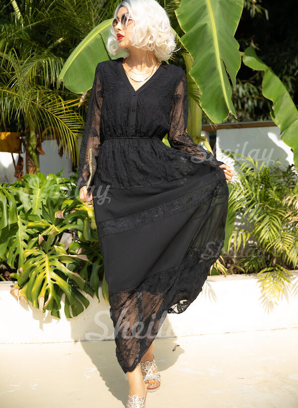 Solid 3/4 Sleeves A-line Skater Little Black/Casual Maxi Dresses