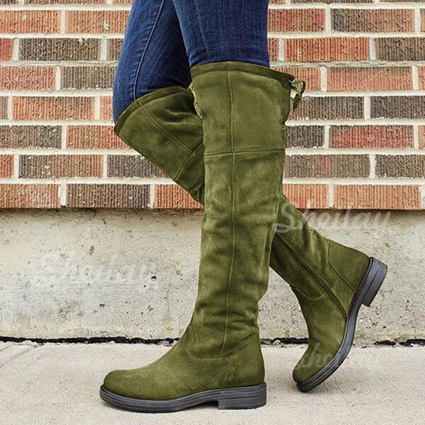 Women's PU Chunky Heel Boots Over The Knee Boots Round Toe With Lace-up Solid Color shoes