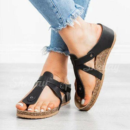 Women's PU Wedge Heel Sandals Peep Toe Slippers With Rivet shoes