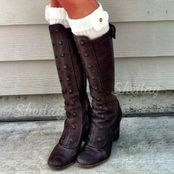 Women's Leatherette Chunky Heel Boots Knee High Boots Round Toe Winter Boots With Buckle Zipper Lace-up shoes