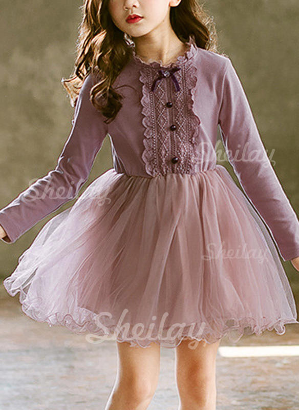Girls Round Neck Solid Buttons Casual Party Dress