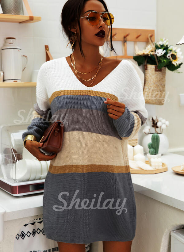 Color Block Striped V-Neck Casual Long Sweater Dress