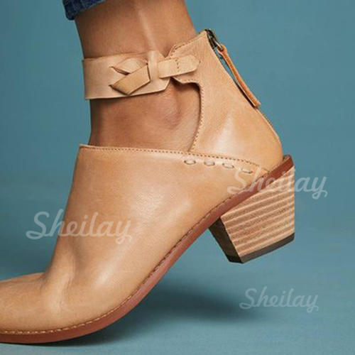Women's Leatherette Chunky Heel Pumps With Lace-up shoes
