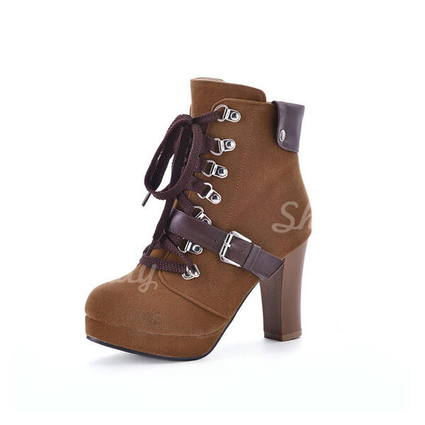 Women's Suede Stiletto Heel Ankle Boots Round Toe With Lace-up shoes