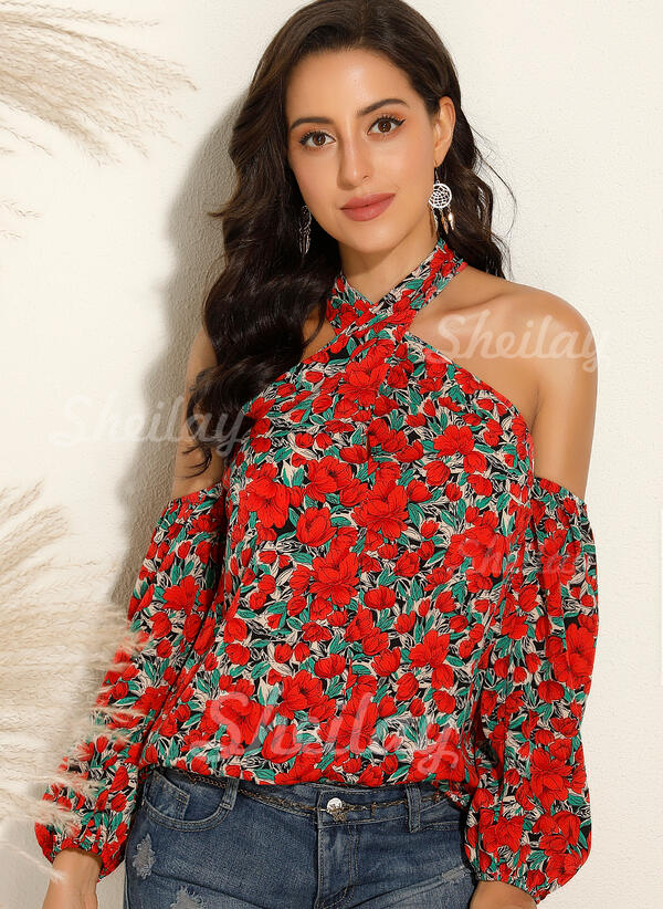 Print Floral Cold Shoulder Long Sleeves Sexy Blouses