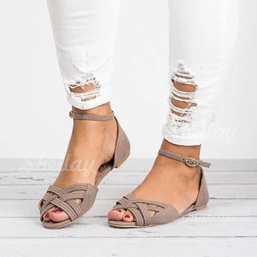 Women's Leatherette Flat Heel Sandals Flats With Braided Strap shoes