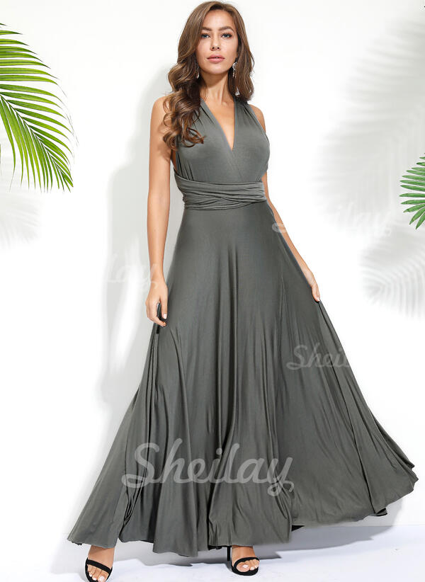 Solid Sleeveless A-line Skater Sexy/Party Maxi Dresses