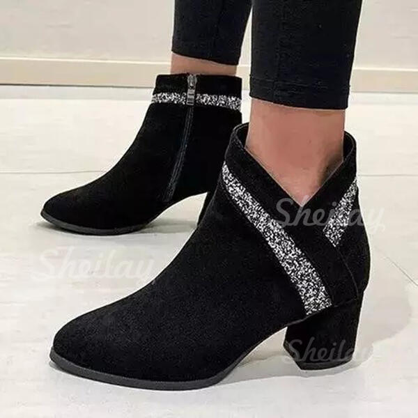 Women's Suede Chunky Heel Ankle Boots Pointed Toe With Zipper Splice Color shoes
