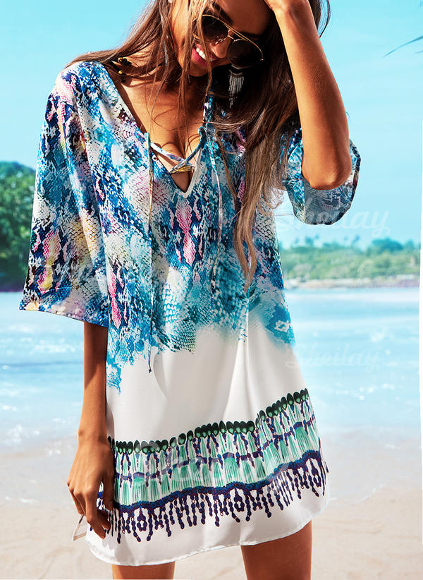 Colorful V-Neck Beautiful Cover-ups Swimsuits