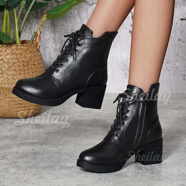 Women's PU Chunky Heel Ankle Boots High Top With Zipper Solid Color shoes
