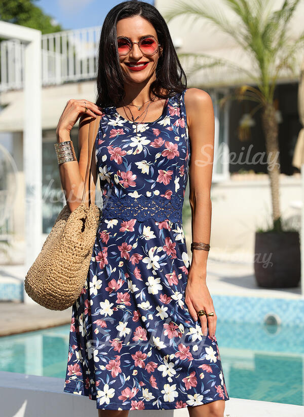 Lace/Print/Floral Sleeveless A-line Knee Length Casual Skater Dresses