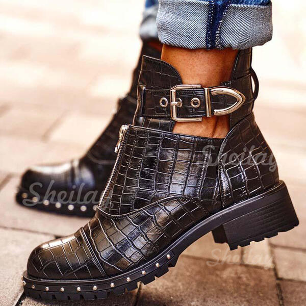 Women's PU Low Heel Ankle Boots Round Toe With Rivet Buckle Animal Print shoes