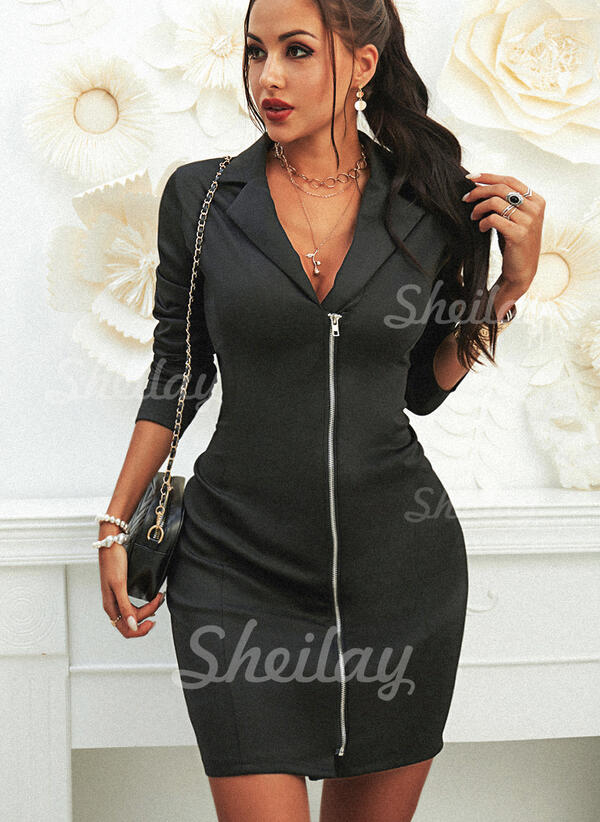 Solid Long Sleeves Bodycon Above Knee Little Black/Casual/Elegant Dresses