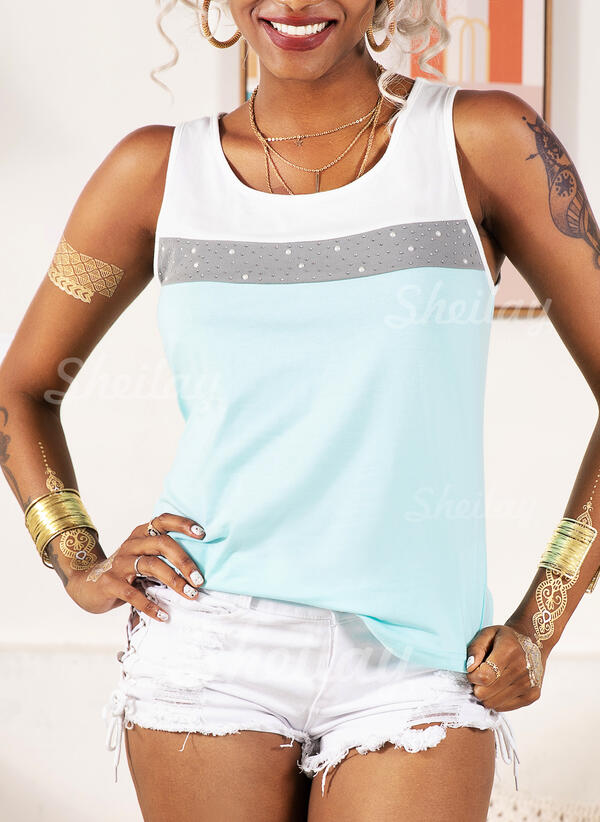 Color Block Round Neck Sleeveless Casual Tank Tops