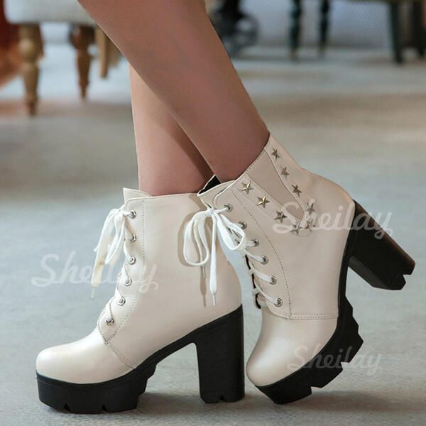 Women's PU Wedge Heel Low Heel Chunky Heel Boots Ankle Boots High Top Low Top Heels With Buckle Lace-up Elastic Band shoes