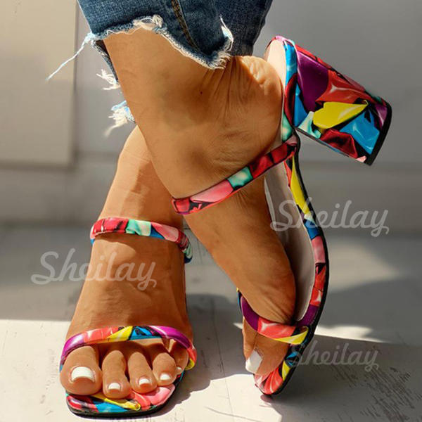 Women's PU Chunky Heel Sandals Pumps Slippers With Animal Print shoes