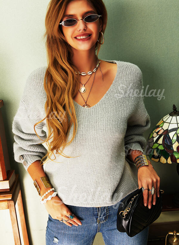 Solid Knit V-Neck Long Sleeves Lantern Sleeve Casual Blouses
