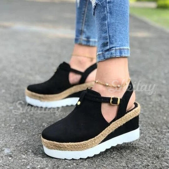 Women's Suede Wedge Heel Pumps Closed Toe Wedges Slingbacks With Buckle shoes