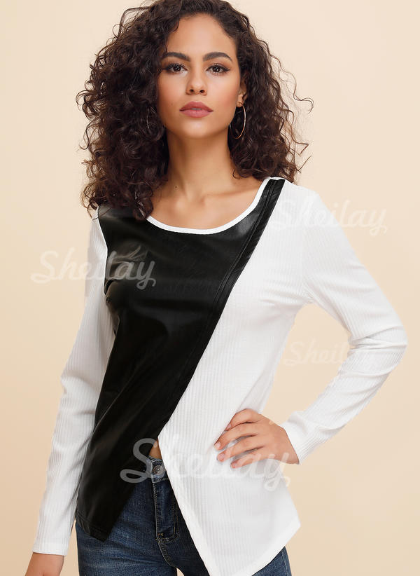Color Block Round Neck 3/4 Sleeves Long Sleeves Casual Knit T-shirts