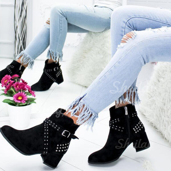 Women's Suede Chunky Heel Boots Pointed Toe With Rivet Zipper Others shoes