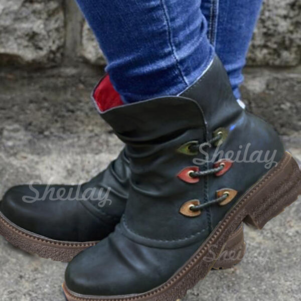 Women's Leatherette Chunky Heel Ankle Boots Round Toe With Zipper Lace-up shoes