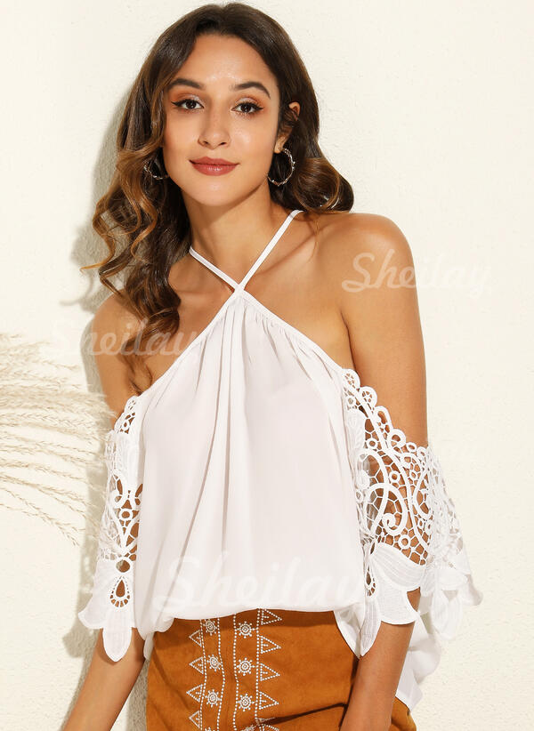 Solid Patchwork Lace Cold Shoulder 3/4 Sleeves Casual Blouses