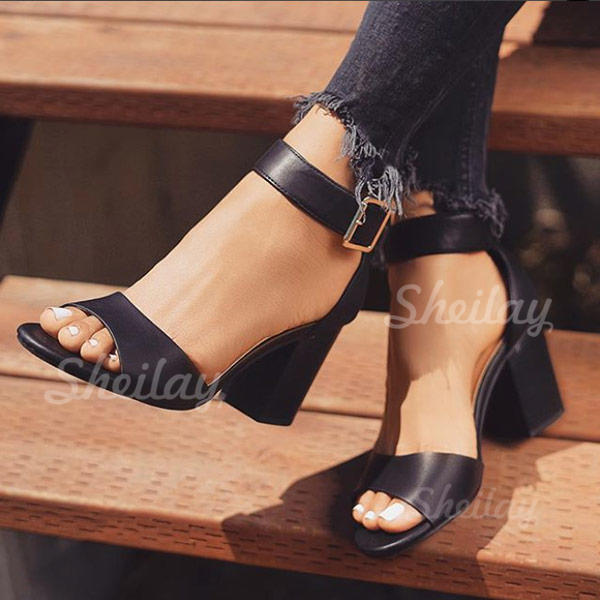 Women's PU Chunky Heel Sandals With Buckle shoes