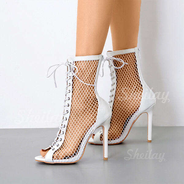 Women's Suede Stiletto Heel Peep Toe With Lace-up Hollow-out shoes