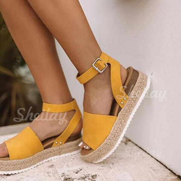 Leatherette Wedge Heel Sandals With Split Joint shoes