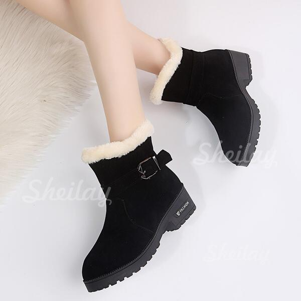 Women's Suede Low Heel Boots Ankle Boots Pointed Toe With Buckle Lace shoes