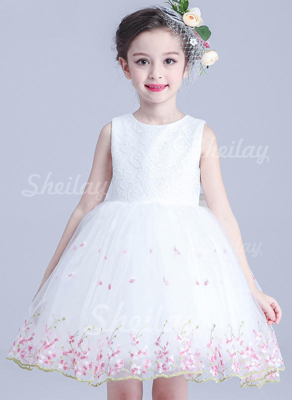 Girls Round Neck Floral Bow Party Dress