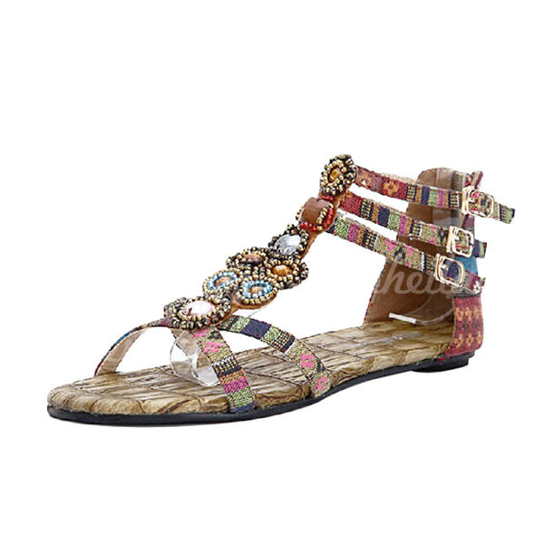 Women's Cloth Flat Heel Sandals With Buckle shoes