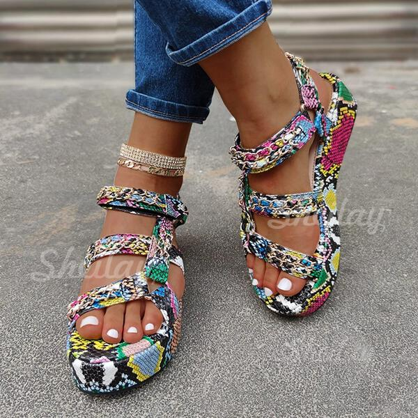 Women's Leatherette Flat Heel Sandals Peep Toe With Animal Print shoes