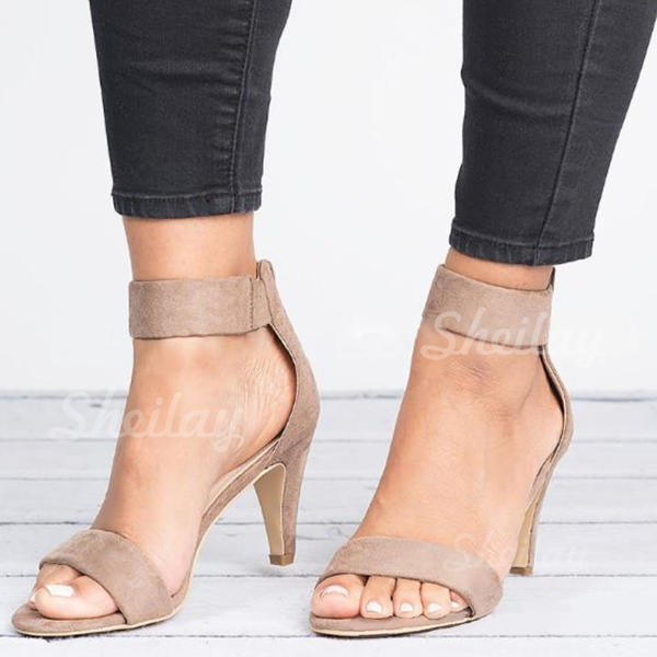 Women's Fabric Low Heel Sandals With Zipper shoes