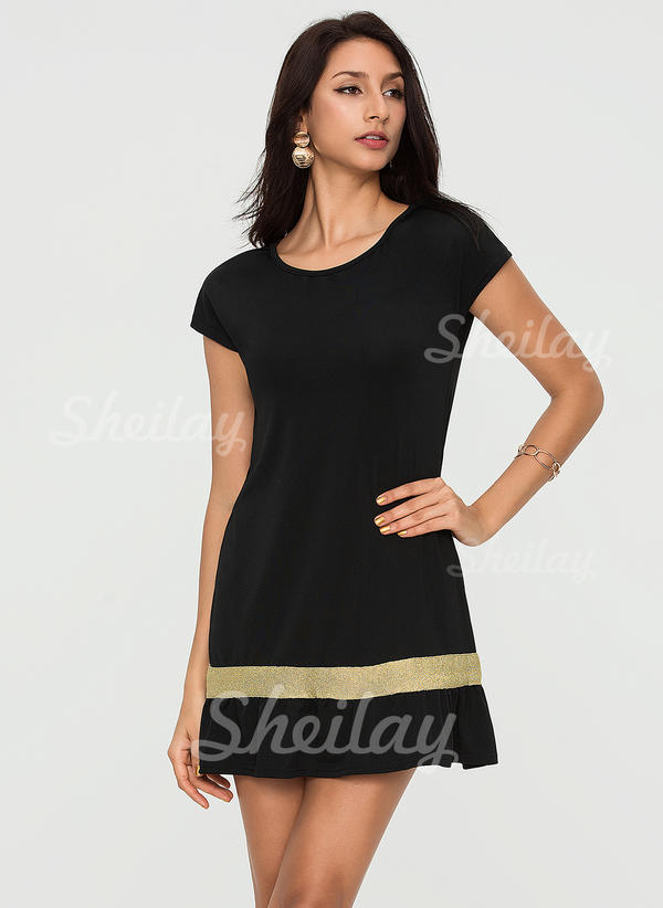 Color Block Short Sleeves Sheath Knee Length Casual T-shirt Dresses