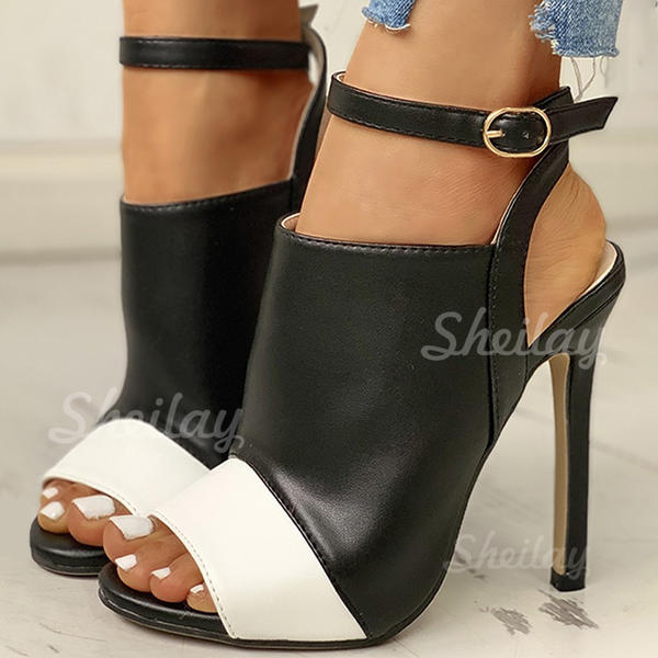 Women's PU Stiletto Heel Pumps Peep Toe With Buckle shoes