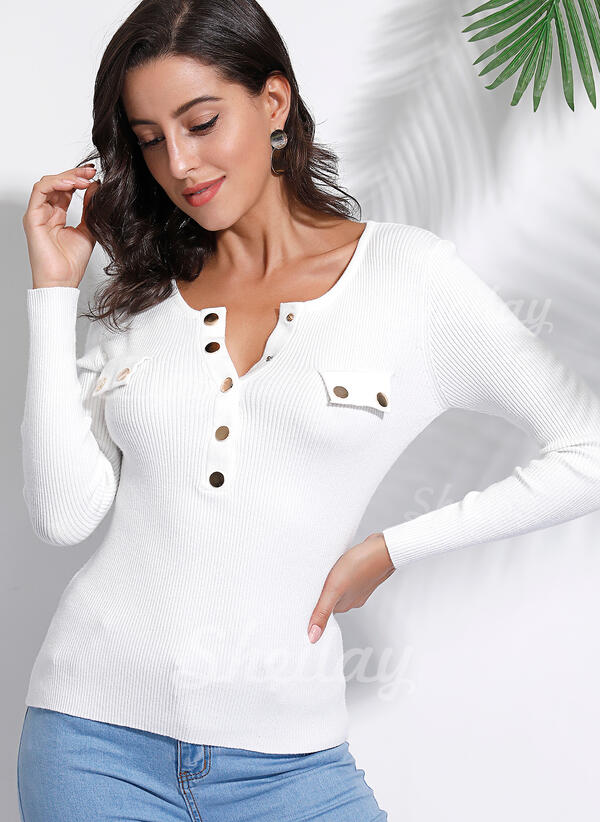 Solid Round Neck Long Sleeves Button Up Casual Basic Knit Blouses