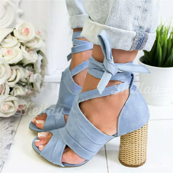 Women's Suede Chunky Heel Pumps Peep Toe With Lace-up shoes