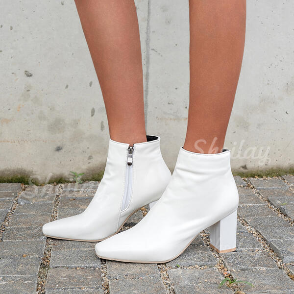 Women's PU Chunky Heel Cone Heel Ankle Boots Low Top Heels With Zipper Solid Color shoes