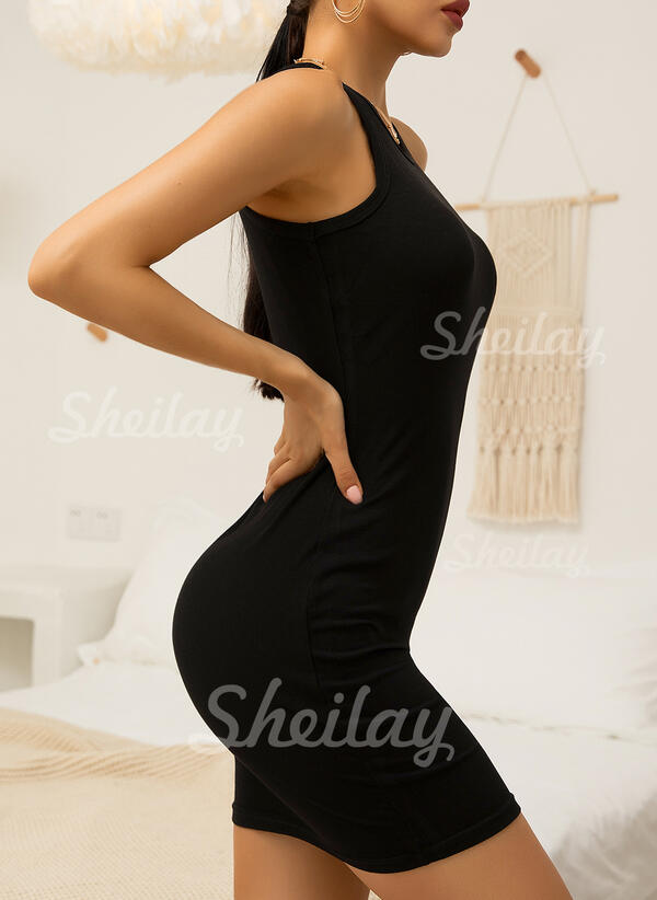 Solid Sleeveless Bodycon Above Knee Little Black/Casual Tank Dresses