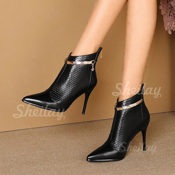 Women's PU Stiletto Heel Ankle Boots Heels Pointed Toe With Sequin Solid Color shoes